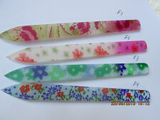 Manicure and Pedicure Glass Nail Files - Clean nails, flower designs