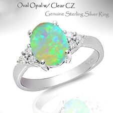 Turquoise Moon Fire Opal w/ White Sapphire CZ Genuine Sterling Silver Ring
