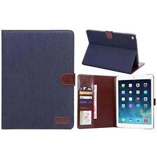 Luxury Jeans Denim Cloth Leather Cover Case Wallet Bag for iPad 6 iPad 2/3/4/5