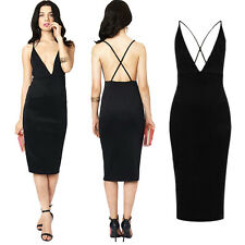 Sexy Glamourous Ladies Black Bodycon Backless Party Midi Dress Pencil Dress