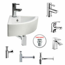 MODERN WHITE CLOAKROOM CORNER BATHROOM BASIN SINK + TAP + TRAP + *FREE WASTE*