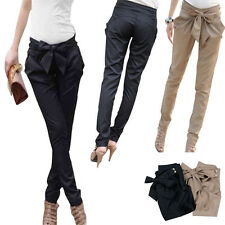 Women Skinny Long Trousers OL Casual Bow Knot Harem Slim Comfy Pants Cheap