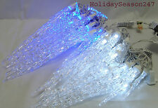 25 LARGE TWINKLING ICICLE CHRISTMAS LED LIGHTS HOLIDAY OUTDOOR TWINKLE ICE DECOR