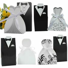100PCS Wedding Favor DRESS & TUXEDO Bride and Groom Ribbon Candy Box Party New