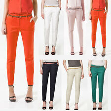 Women Girls Casual Candy Color Skinny Belted Pencil Pants Trousers New Fashion