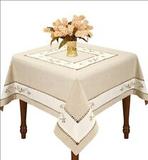customized tablecloth embroidery linen handmade double hemstitched wedding decor