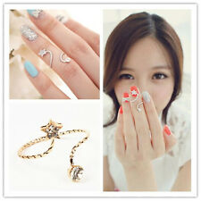 You Come From The Stars Twisted Above Knuckle Crystal Band Midi Finger Nail Ring
