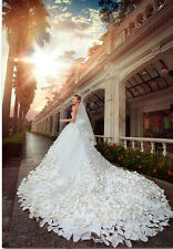 White Petals Quinceanera Party Pageant Ball Gown Cathedral Train Wedding Dresses