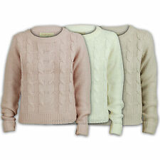 ladies jumpers womens knit sweater knitwear pullover top crew neck cable chunky