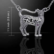 Stunning Celtic Knotwork Silver Cat Necklace - with a choice of gemstone
