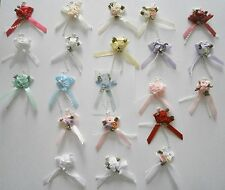 Satin Ribbon Triple Rose Bows with Beads - Packs of 5 or 20