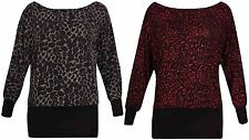 Womens Leopard Animal Printed Ladies Glitter Batwing Off Shoulder Top Plus Size