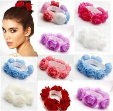 Flower Bun Garland Floral Head Knot Hair Top Scrunchie Band Elastic Bridal  GOCA