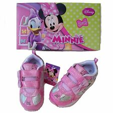 Disney Minnie Mouse Girl's Athletic Light-Up Shoe Pink/White Sparkle Velcro Gift