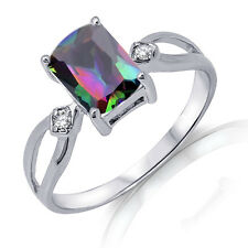 Oval Emerald Cut Rainbow Mystic Topaz Genuine Sterling Silver Ring Size 3 - 12