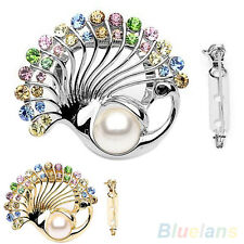 Creative Rhinestone Crystal Faux Pearl Brooch Peacock Scarf Buckle Brooches Pin