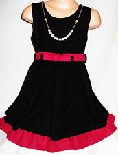 GIRLS BLACK PINK RUFFLE TRIM BELTED WINTER KNIT PARTY DRESS with NECKLACE