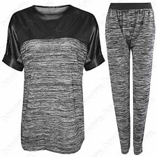 NEW WOMEN LADIES GREY KNIT PU HI LO LOOSE T SHIRT TOP JOGGER PANTS TROUSERS SUIT