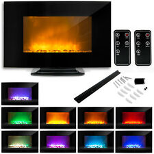"35"" 1500W Electric Glass Fireplace Heater Adjustable Heat Natural Stones Black"