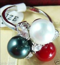 8mm Black White Red South Sea Shell Pearl Crystal 18KGP Wedding Ring Size 7/8/9