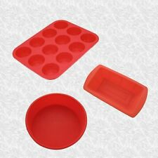A CHOICE OF RED SILICONE BAKEWARE pie loaf cake muffin glove mats rings poachers