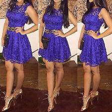 Women Ladies Sleeveless Lace Bodycon Cocktail Evening Party Short Mini Dress