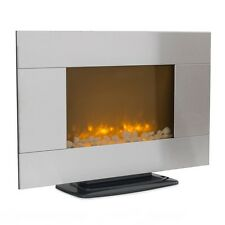 "36"" Adjustable Stainless Steel 1500W Electric Fireplace Heater Real Stone Mount"