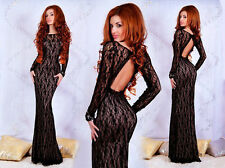 Women's Sexy Elegant Slim Long Lace Ball Gown Evening Cocktail Party Dress SML