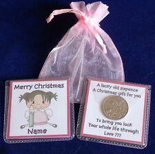 PERSONALISED GIRL FAIRY ANGEL CHRISTMAS LUCKY SIXPENCE STOCKING FILLER GIFT