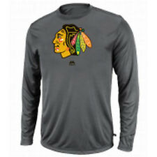 Chicago Blackhawks Long Sleeve Performance Synthetic Shirt Majestic NHL Official