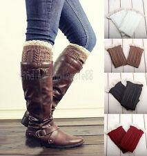 Lady's Crochet Knitted Lace Trim Boot Cuffs Toppers Leg Warmers Socks