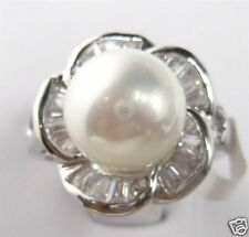Fashion Natural 10mm White South Sea Shell Pearl Flower Wedding Ring Size 7/8/9