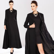 Women Ladies Black Wool Cashmere Vintage Long Maxi Winter Parka Coat Trench