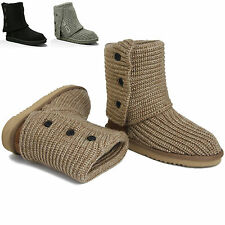 New Ladies Womens Cardigan Knitted Shoes Warm Winter Fashion Mid Calf Boots Size