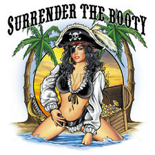 SURRENDER THE BOOTY pirate babe T-Shirt 100% Cotton sizes SM - 5Xl short sleeve