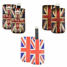 PU LEATHER TAB PULL POUCH LONDON UNION JACK CASE COVER IPHONE SAMSUNG GALAXY