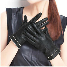 New Women lady Genuine lambskin leather winter warm soft driving wrist Gloves