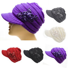 New Fashion Women's Cable Knit Visor winter Hat with Flower Accent warm hat