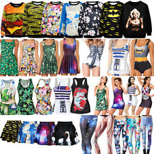 Hot! Women's 3D Digital Graphic Print Monokini Dress Tank Top Leggings Hoodies