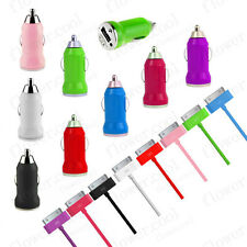 UK COLOUR CAR CHARGER ADAPTER + USB DATA LEAD CABLE FOR IPHONE 4 4S IPOD TOUCH