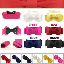 New Womens Chiffon Bowknot Elastic Bow Wide Stretch Buckle Waistband Waist Belt