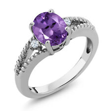 1.73 Ct Oval Natural Purple Amethyst 925 Sterling Silver Women's 3-Stone Ring