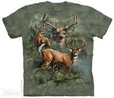 THE MOUNTAIN DEER COLLAGE THREE FOREST TREE NATURE CUTE SMILE T TEE SHIRT S-5XL