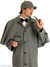 MENS SHERLOCK HOLMES VICTORIAN FANCY DRESS COAT FULL COSTUME OUTFIT NEW M L XL