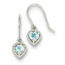 925 Sterling Silver Polished Genuine Blue Topaz Small Heart Earrings
