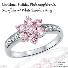 Unique Holiday Christmas Snowflake Pink Sapphire CZ Genuine Sterling Silver Ring