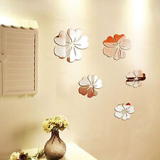 5 flower mirror surface  acrylic sitting room background flowers 3D wall sticker