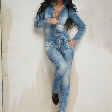 BY ALINA Damenoverall Overall Einteiler Jeans Catsuit Jeansoverall 32 34 36 #521