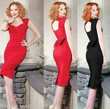 NEW RED BLACK OPEN BACK PENCIL WIGGLE PARTY DRESS 40'S 50'S VINTAGE RETRO 8 - 22