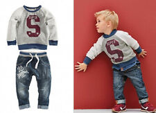 Pop SUPER NY Handsome Kids Boys Long Pullover Coat Jeans Pants Outfits set 1~6Y